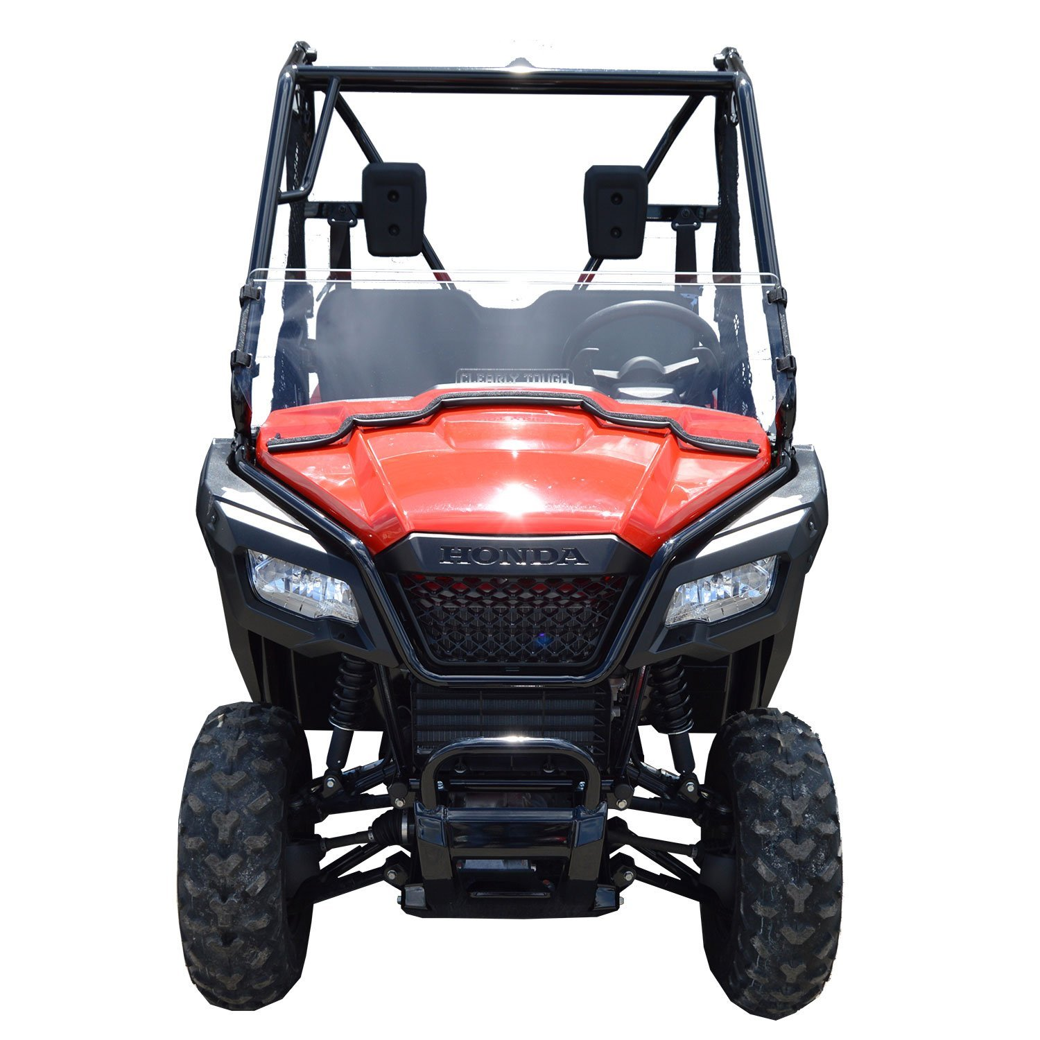 Honda Pioneer 500 Half Scratch Resistant UTV Windshield. The ultimate in side by side versatility! Easy on and off. Quickly install or remove!Premium polycarbonate w/ Hard CoatMade in America!