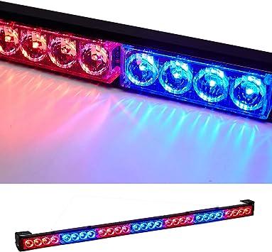 14 in LED Red Blue Light Emergency Warning Strobe Flashing Bar Hazard Security