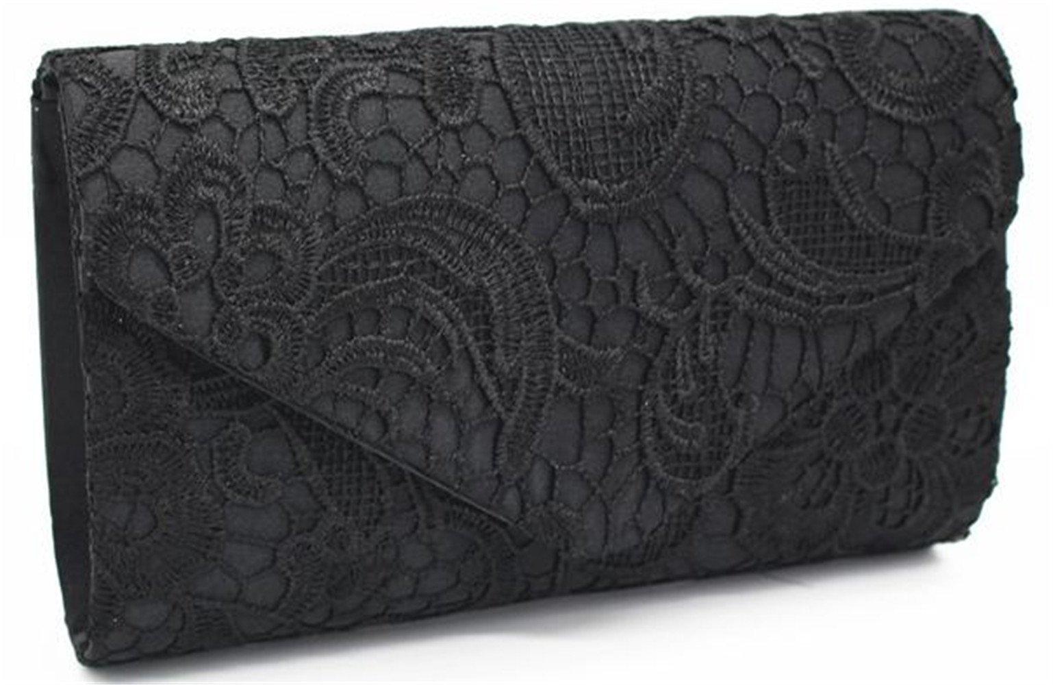 Nodykka Wedding Pleated Floral Lace Clutches Bag Evening Cross Body Handbags Purse,Black,one size