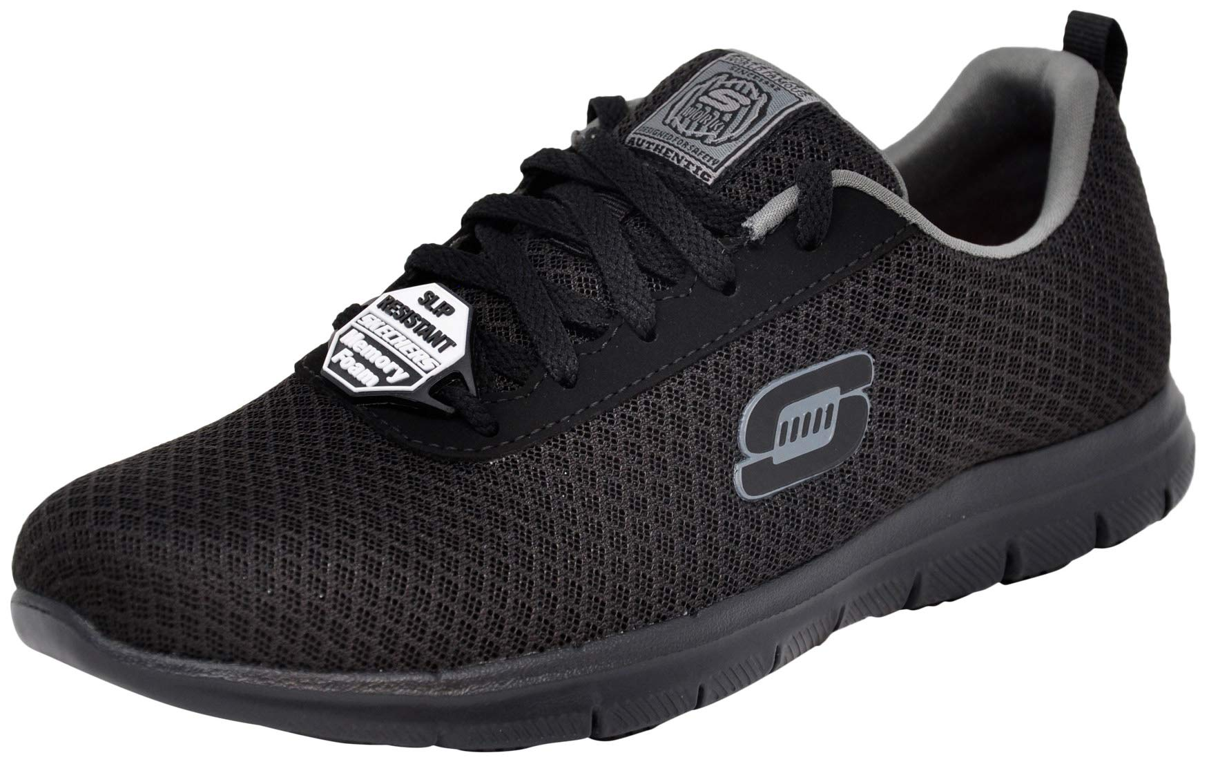 Skechers Women's Ghenter Bronaugh Lace up Work Shoes (6 M US, Black/Charcoal)