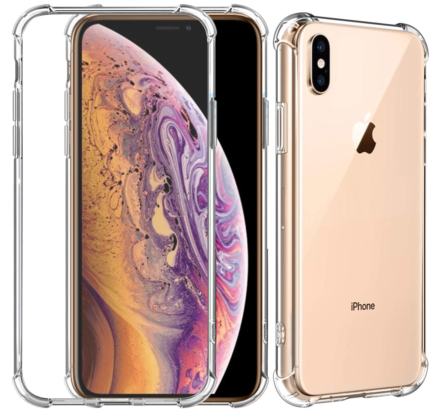 SAMAR iPhone XS Case, Premium Quality Apple iPhone XS Four Corner Full Body Cover Shockproof TPU Silicon Bumper Case [Crystal Clear] Extreme Armor Protection Hybrid Cover for iPhone 10S