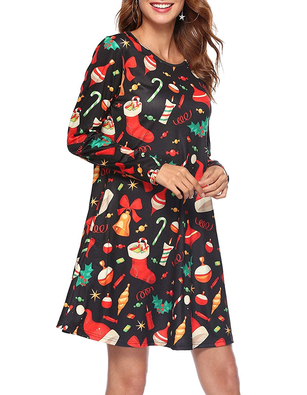 Womens Long Sleeve Cute Christmas Print T Shirt Dress Swing Pocket Dresses