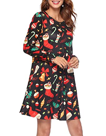 1266ee1191cfc Womens Long Sleeve Round Neck Pullover Christmas Midi Pockets Dress(Small