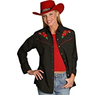 Ely Cattleman Women's Embroidered Roses Vintage Western Cowboy Shirt - 303801Asst
