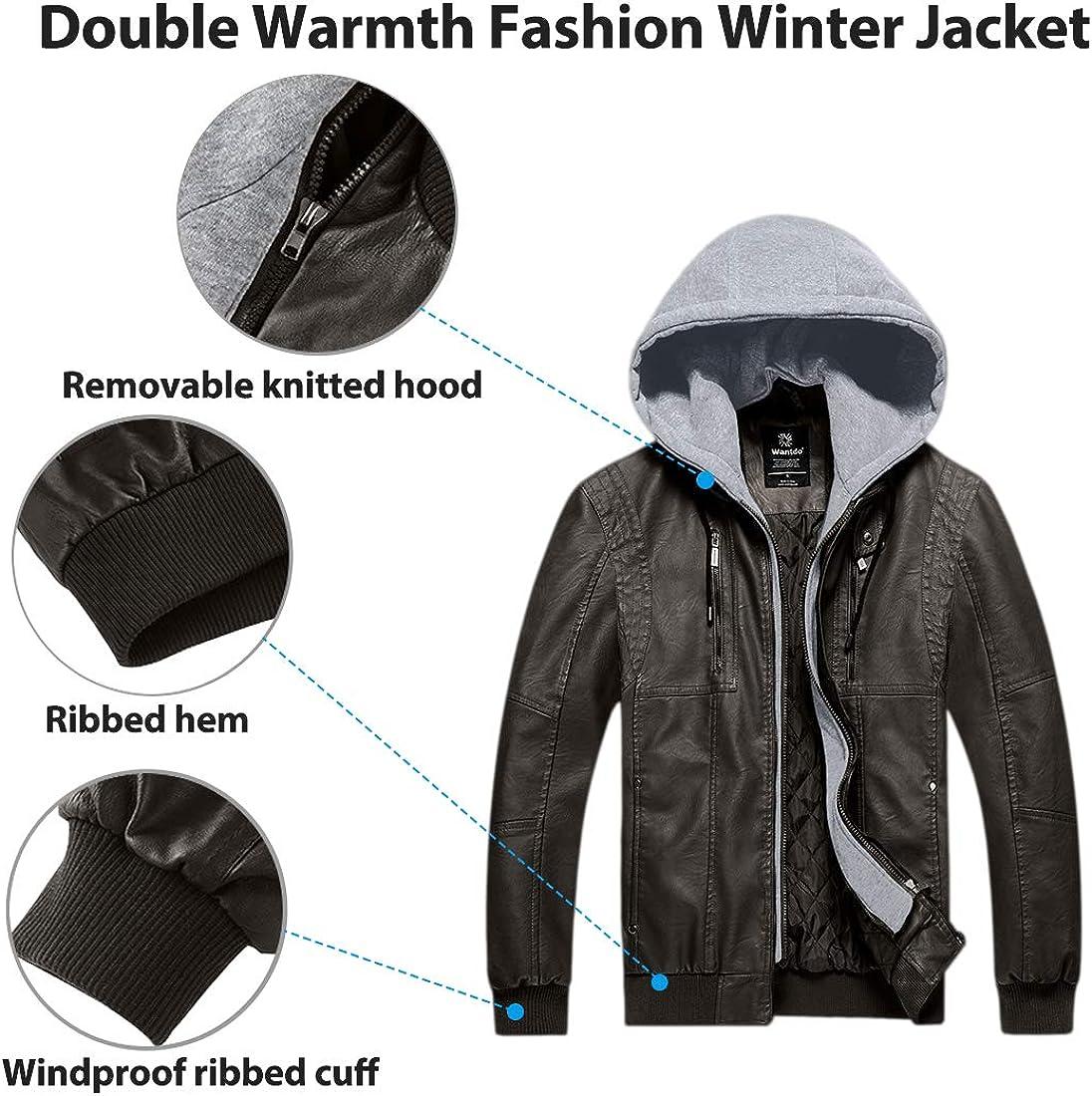 Wantdo Mens Faux Leather Jacket Moto Hoodie Jacket PU Outwear Warm Jacket
