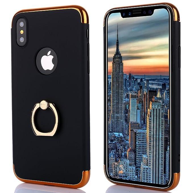 671a83bb772 Funda iphone X,Soporte de Anillo 3 en 1 PC protección Funda Case Cover con  Sorporte con Rotatorio de Agarre Case Multi-Funcional Cubierta Funda para  iphone ...