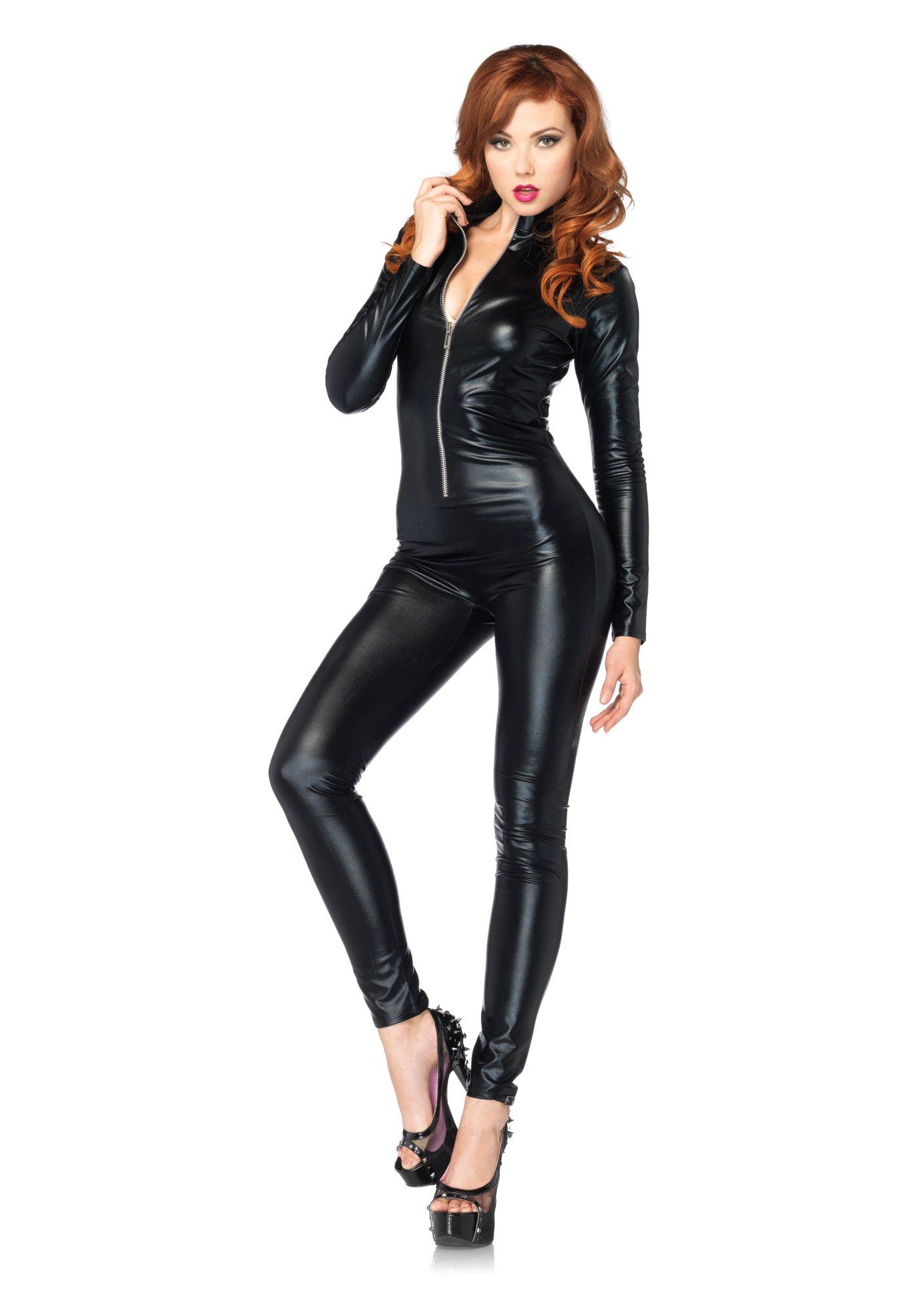 Leg Avenue Women's Wet Look Zipper Front Cat Suit, Black, Medium