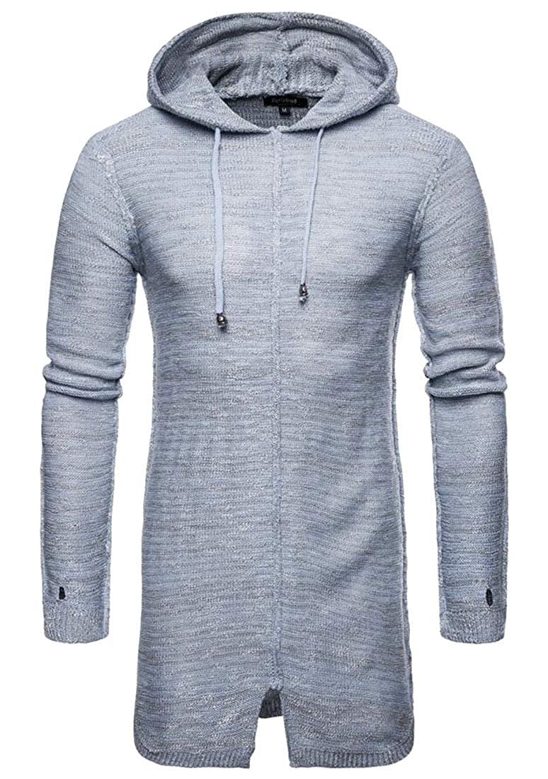 Pivaconis Mens Fashion Knitwear Long Sleeve Drawstring Hooded Pullover Sweater