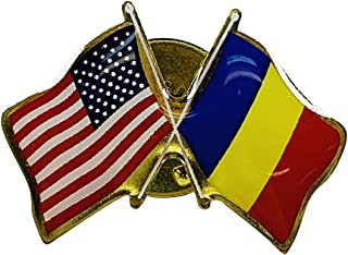product image for Gettysburg Flag Works Romania & U.S. Crossed Flags Double Waving Friendship Lapel Pin - Proudly Made in The USA