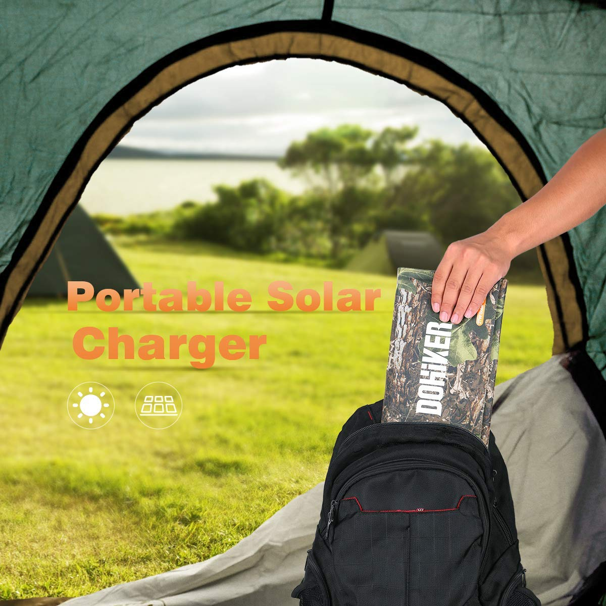Dohiker Portable Foldable Solar Panel Charger, 27W Solar Phone Charger with 3 USB Ports,Durable & Waterproof Solar Charger for Cell Phone, PowerBank, and Electronic Devices, Great for Camping, Hiking by Dohiker (Image #6)