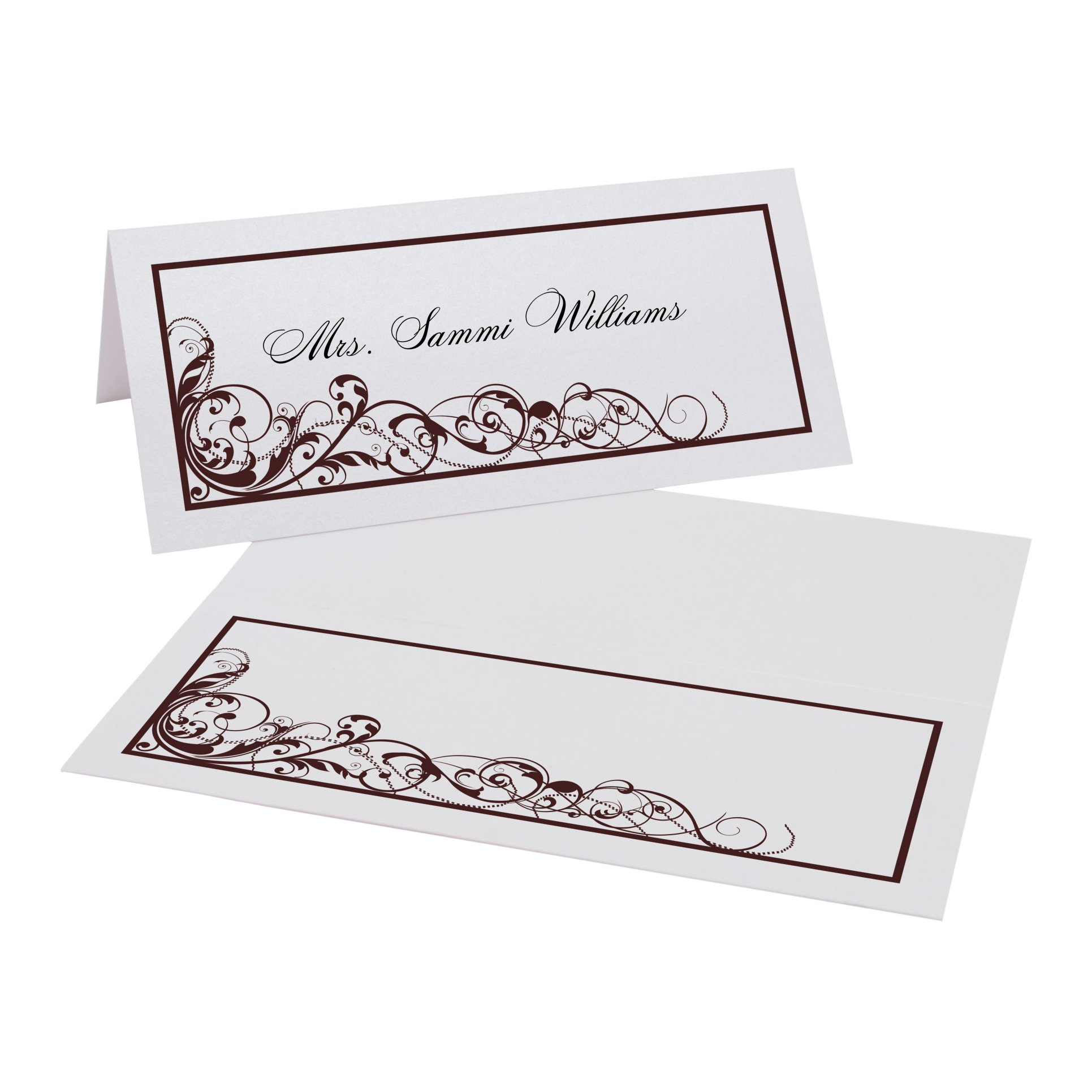 Scribble Vintage Swirl Place Cards, Pearl White, Chocolate, Set of 375 by Documents and Designs