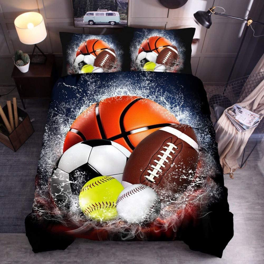 Feelyou Kids Youth Duvet Cover Full Size Baseball Print Comforter Cover Ultra Soft Teens Boys Sports Theme Print Bedding Cover Set Physical Education Microfiber Bedspread 3 Pcs Decoration Gift