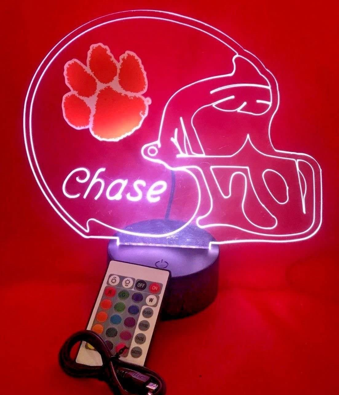 Clemson Tigers NCAA College Football Helmet Light Up Lamp Clemson University Fighting Tigers Table Lamp LED, Our Newest Feature – It s Wow, with Remote 16 Colors, Dimmer, Free Engraving, Great Gift