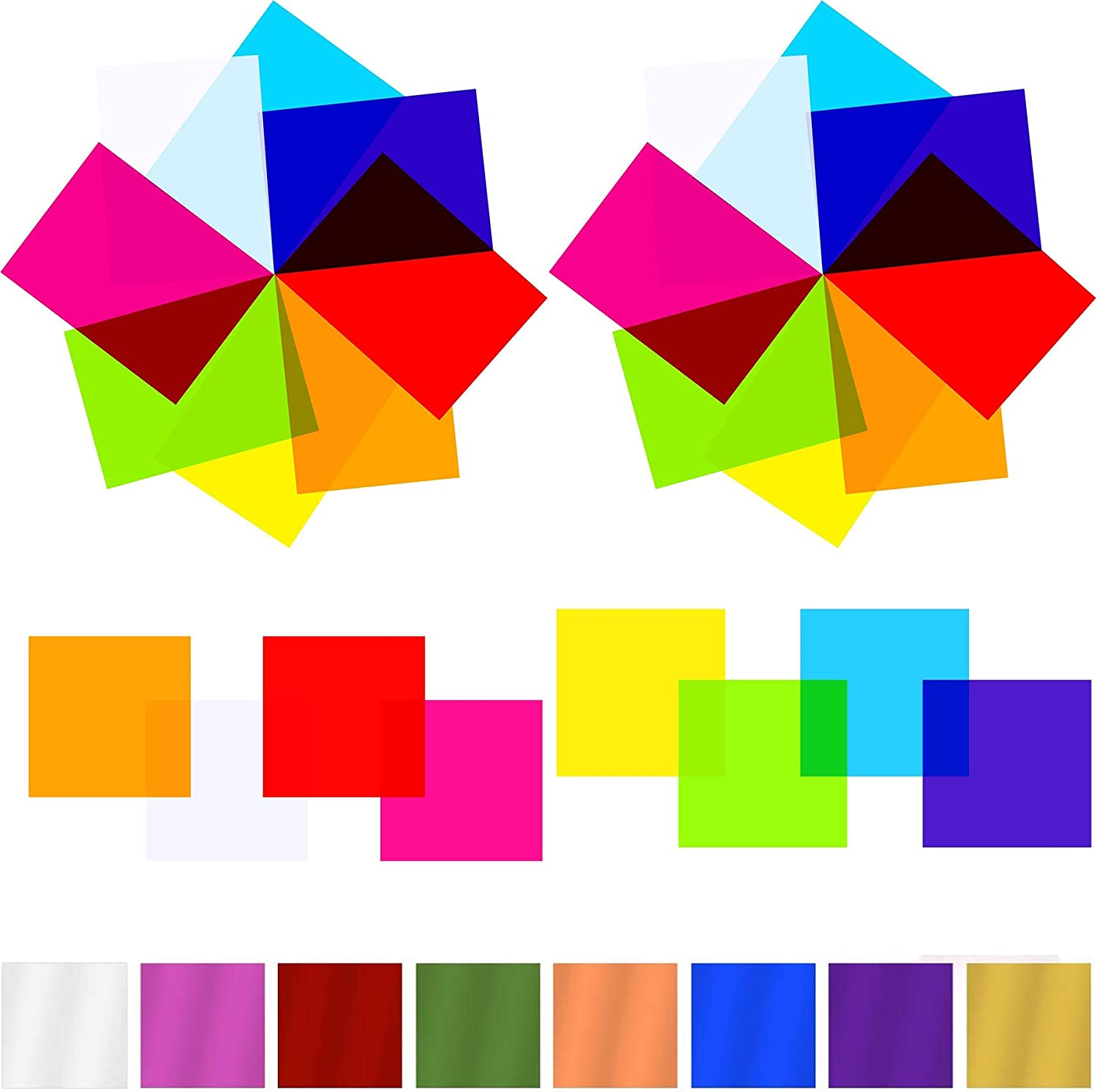 AIKS 120 Pieces Cello Sheets Cellophane Wraps colored cellophane sheets for DIY Arts Crafts Decoration and More (Multicolor, 7.5 x 7.5 Inch)