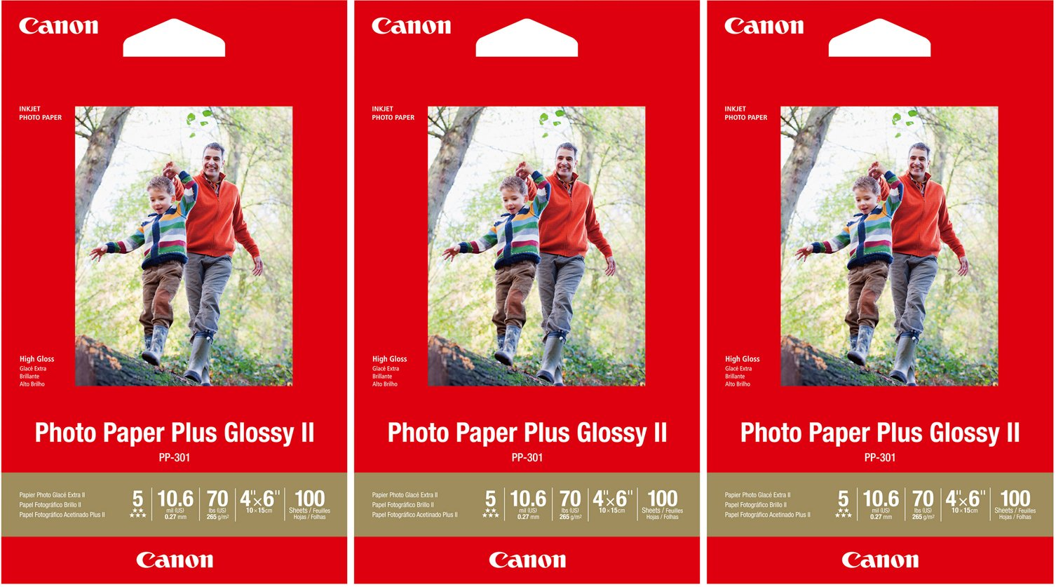 Canon PP-301 Photo Paper Plus Glossy II (4x6, 300 Sheets) 3 Pack