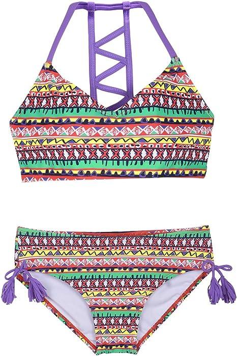 Amazon.com: Firpearl Trajes de baño para niñas Halter Bikini ...