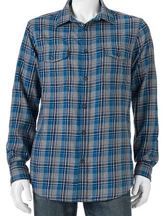 75919ec4 Sonoma Mens Flannel Shirt Size Western Grey Teal Blue Plaid Check (Small)