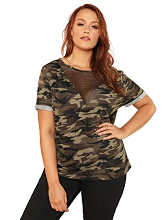 8c23f8ba8209f Romwe Women s Plus Size Mesh Insert V Neck Casual Camo Print T Shirt Loose  Tops Multicoloured