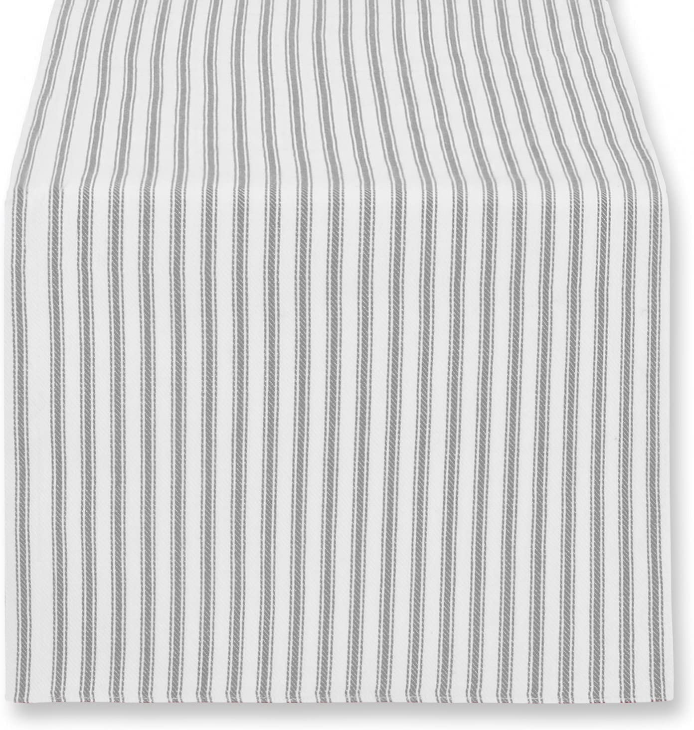 Cackleberry Home Alloy Gray and White Ticking Stripe Table Runner Woven Cotton Reversible, 14 x 72 Inches