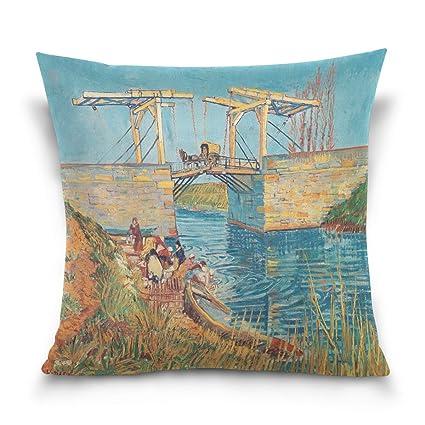 Amazon Hokkien Blue Viper Van Gogh Painting The Langlois Bridge Fascinating Washing Decorative Pillows