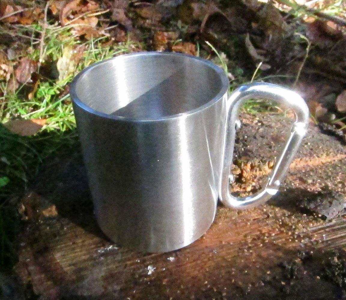 Outdoor Saxx Trekking und Arbeit in der Natur 4X Outdoor Becher//Camping Becher kompakt leicht 180 ml mit geschraubtem KARABINER Griff Edelstahl f/ür Wandern 4er Set