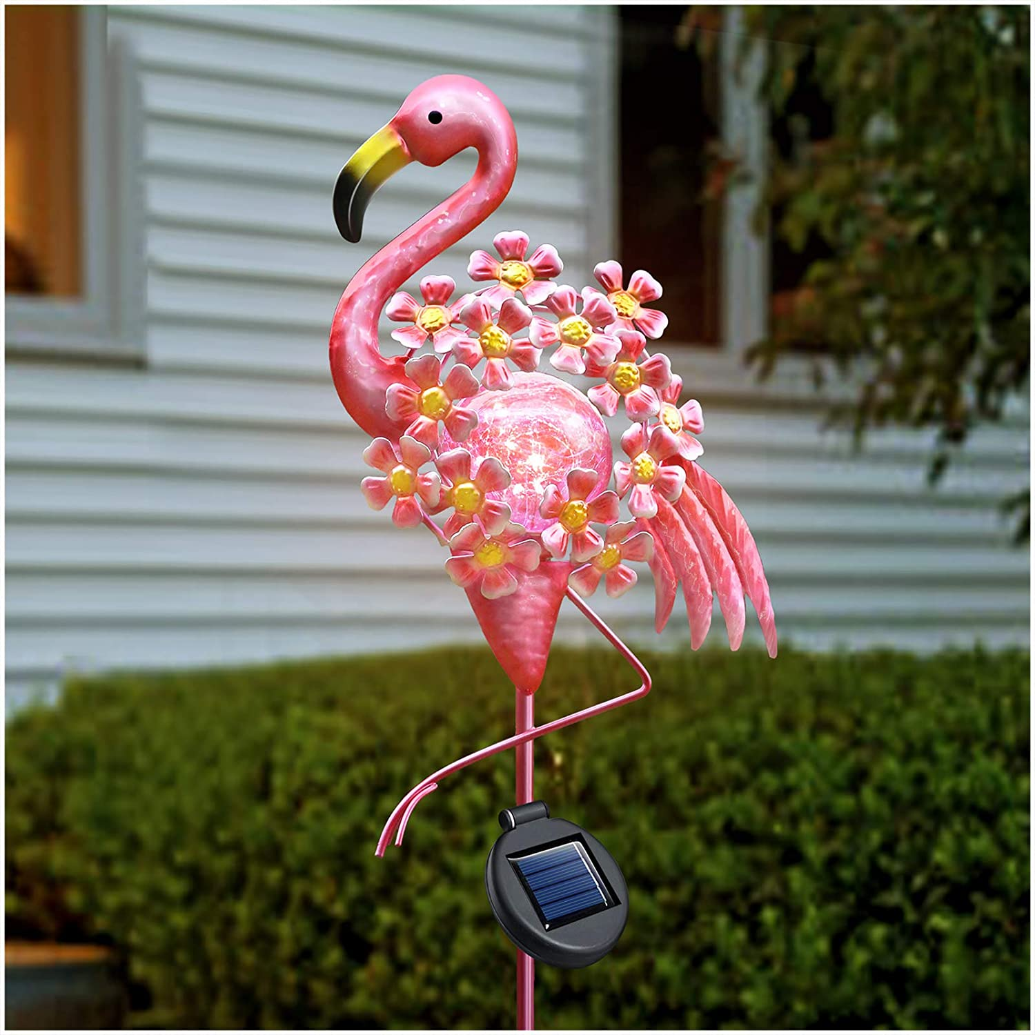 DenicMic Flamingo Solar Lights Outdoor Decor, Garden Stake Lights Glass Metal Flamingo Yard Art Decorations, Christmas Flamingo Waterproof for Patio Landscape Lawn Pathway Courtyard Flowerbed 42 inch