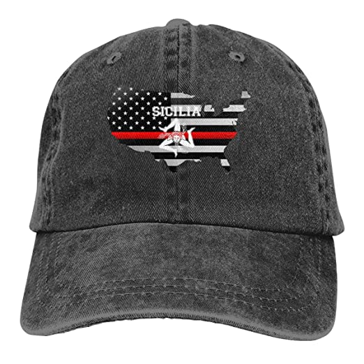 a47102df5d7 Sicilian Trinacria - Sicilia Pride Thin Red Line Flag Denim Hats Washed  Retro Baseball Cap Dad Hat at Amazon Men s Clothing store