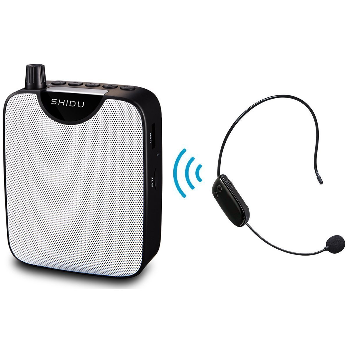 Bluetooth Portable Voice Amplifier, SHIDU Rechargeable Mini PA System with UHF Wireless Headset Microphone, Recording Function, U Disk/TF for Speaker, Guide, Trianer, Teacher, Coach, Presenter