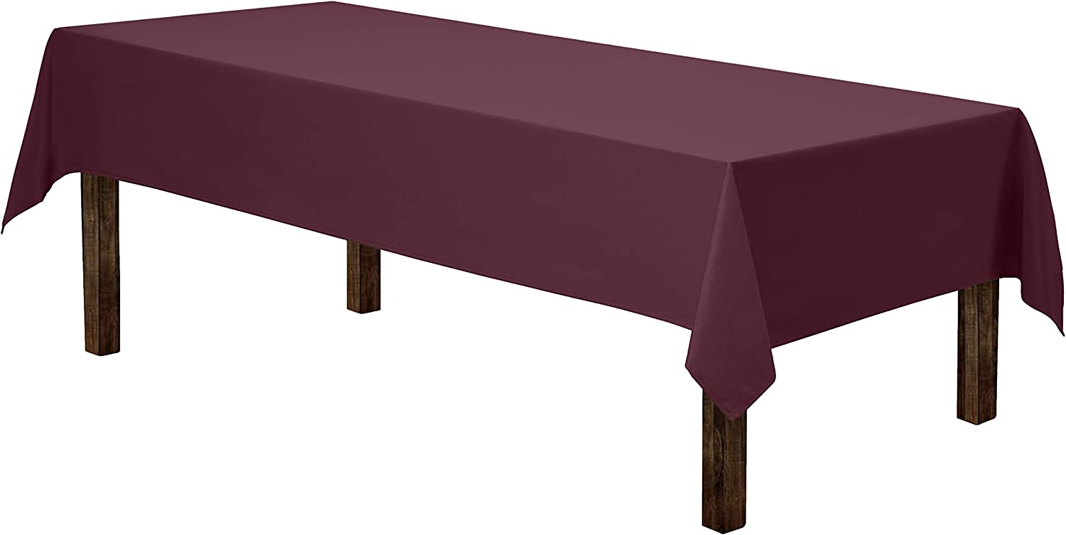 "Gee Di Moda Rectangle Tablecloth - 60 x 126"" Inch - Burgundy Rectangular Table Cloth for 8 Foot Table in Washable Polyester - Great for Buffet Table, Parties, Holiday Dinner, Wedding & More"