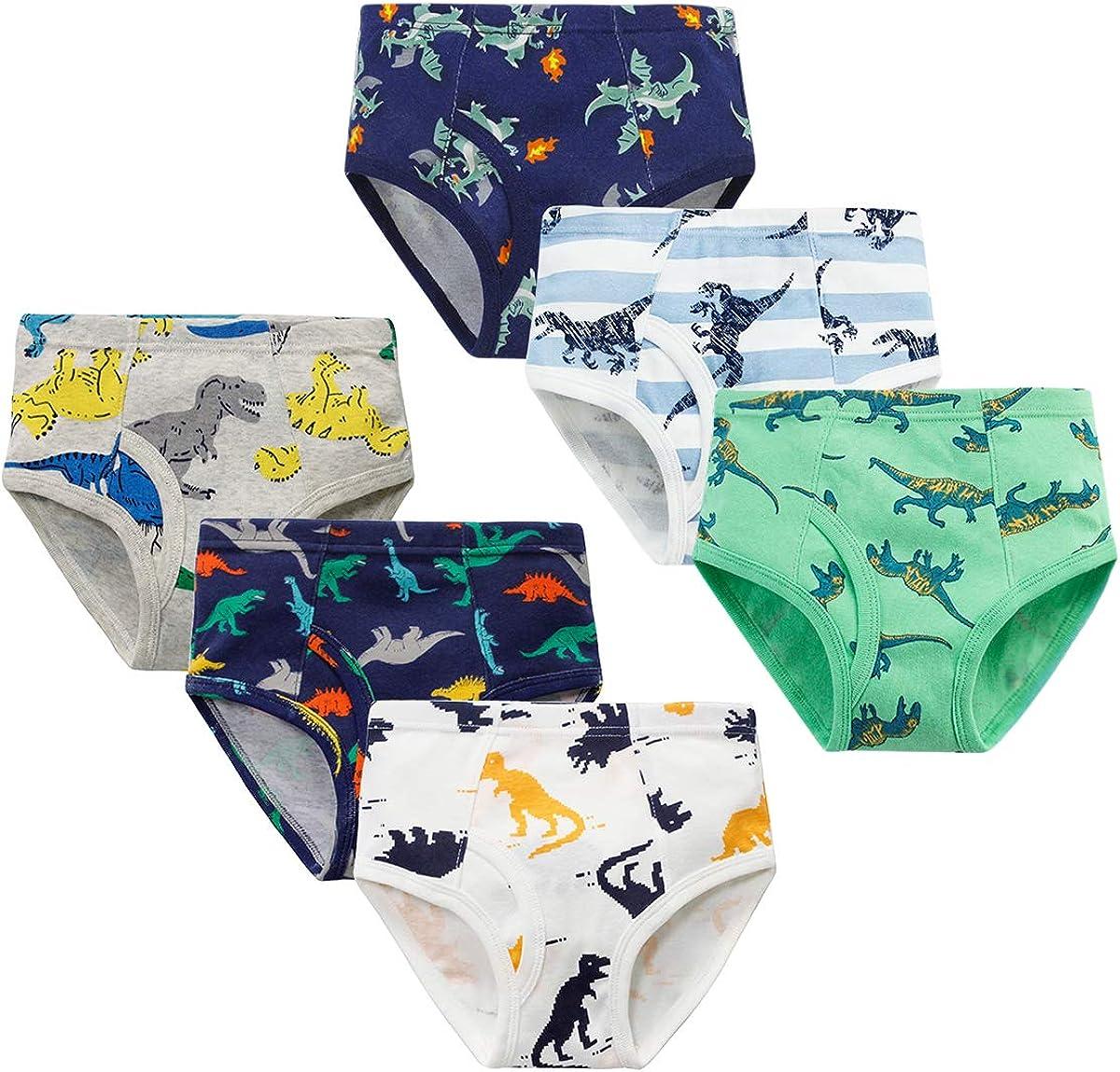 YoungSoul Jungen Slips Baumwolle Unterhosen Kinder Unterw/äsche Dinosaurier 6er Pack