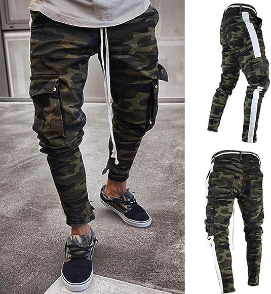 Pantalones de chándal Sueltos Ocasionales de la Aptitud del Deporte de los Hombres de la Moda Que activan Pantalones de Jogging Camuflaje Militar STRIR (S, Camuflaje): Amazon.es: Ropa y accesorios