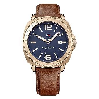 cc2381ddf Tommy Hilfiger Men's Dark Blue Leather Casual Watch - 1791431: Amazon.ae