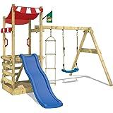 WICKEY Parco giochi FunFlyer Torre da gioco con parete d'arrampicata altalena sabbiera - scivolo blu