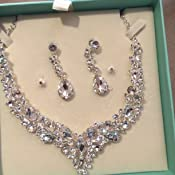 80442ceede Youfir Bridal Austrian Crystal Necklace and Earrings Jewelry Set Gifts fit  with Wedding Dress B071VM3BKW_US Jewelry