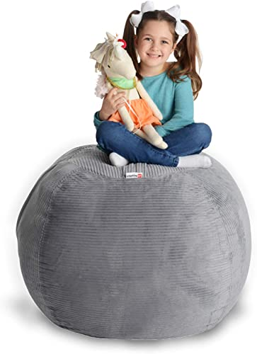 Creative QT Stuffed Animal Storage Bean Bag Chair - Extra Large Stuff n Sit Organization for Kids Toy Storage - Available in a Variety of Sizes and Colors 38 , Light Grey Corduroy