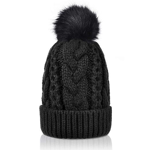 7b9f2487f Winter Thick Cable Knit Faux Fuzzy Fur Pom Pom Sherpa Lined Skull Ski Cap  Cuff Beanie