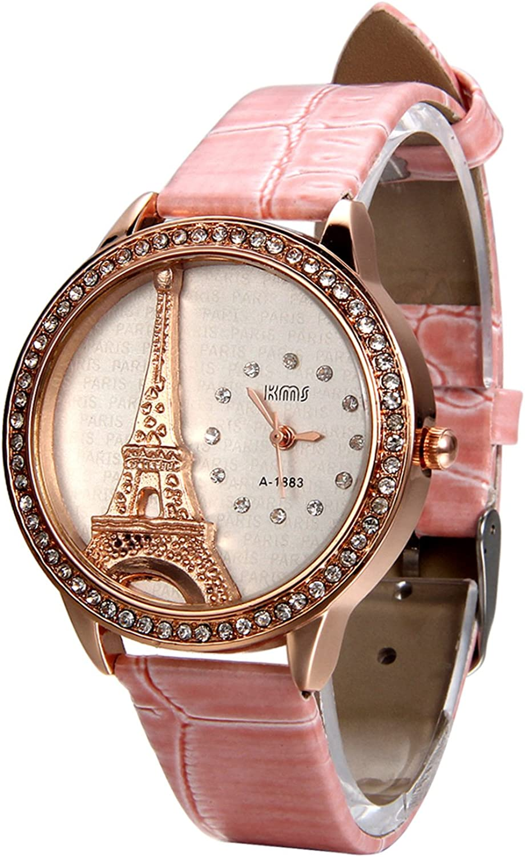 Avaner - Reloj de Pulsera analógico de Cuarzo con Diamantes de imitación, diseño de la Torre Eiffel con Detalles de Diamantes de imitación, Color Blanco
