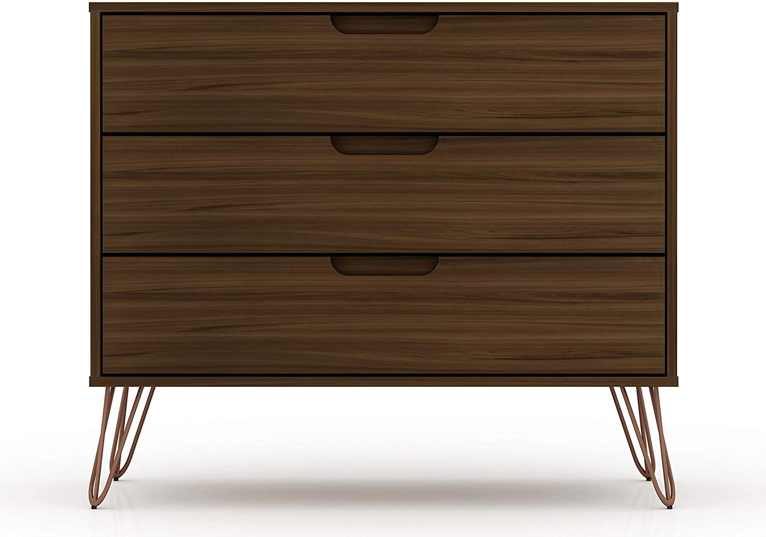 "Manhattan Comfort Rockefeller Mid-Century Modern 3 Drawer Bedroom Dresser, 35.24"", Brown"