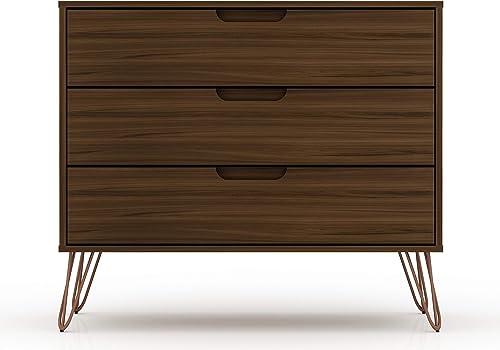 Manhattan Comfort Rockefeller Mid-Century Modern 3 Drawer Bedroom Dresser, 35.24 , Brown