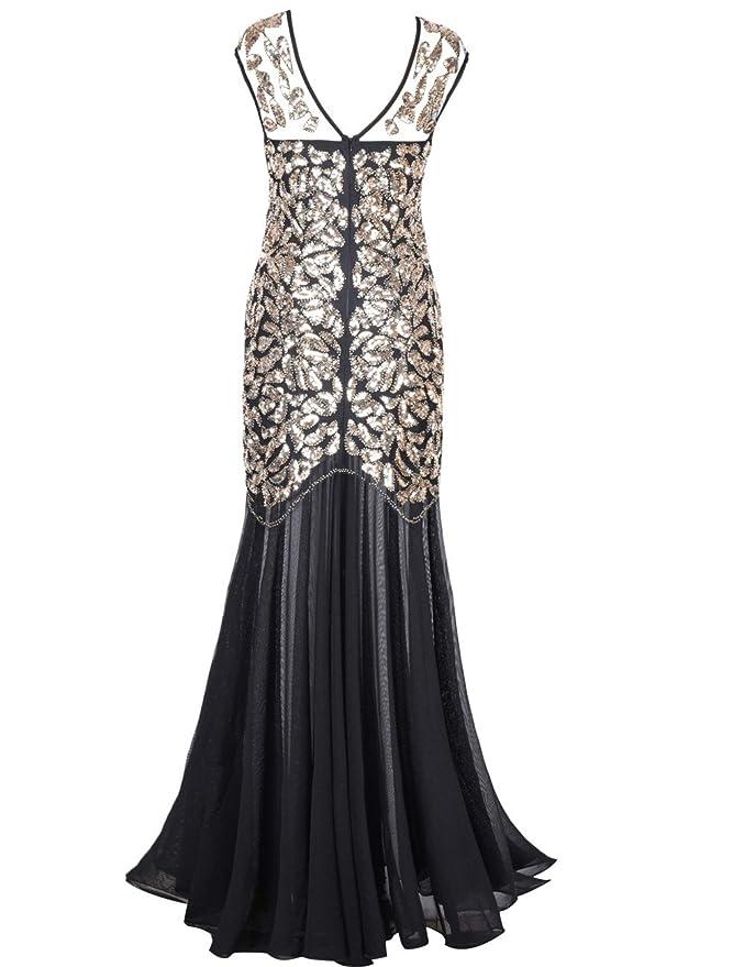 3ff2339452f Amazon.com  kayamiya Women s 1920s Evening Dress Formal Beaded Sequin Maxi  Long Flapper Prom Ball Gown  Clothing