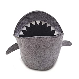 PT FASHIONS Kids Shark Laundry Dirty Clothes Basket Toys Storage Organizer Bin Hamper Tote Box Felt Cloth Eco-Friendly Collapsible Foldable Multi-Functional