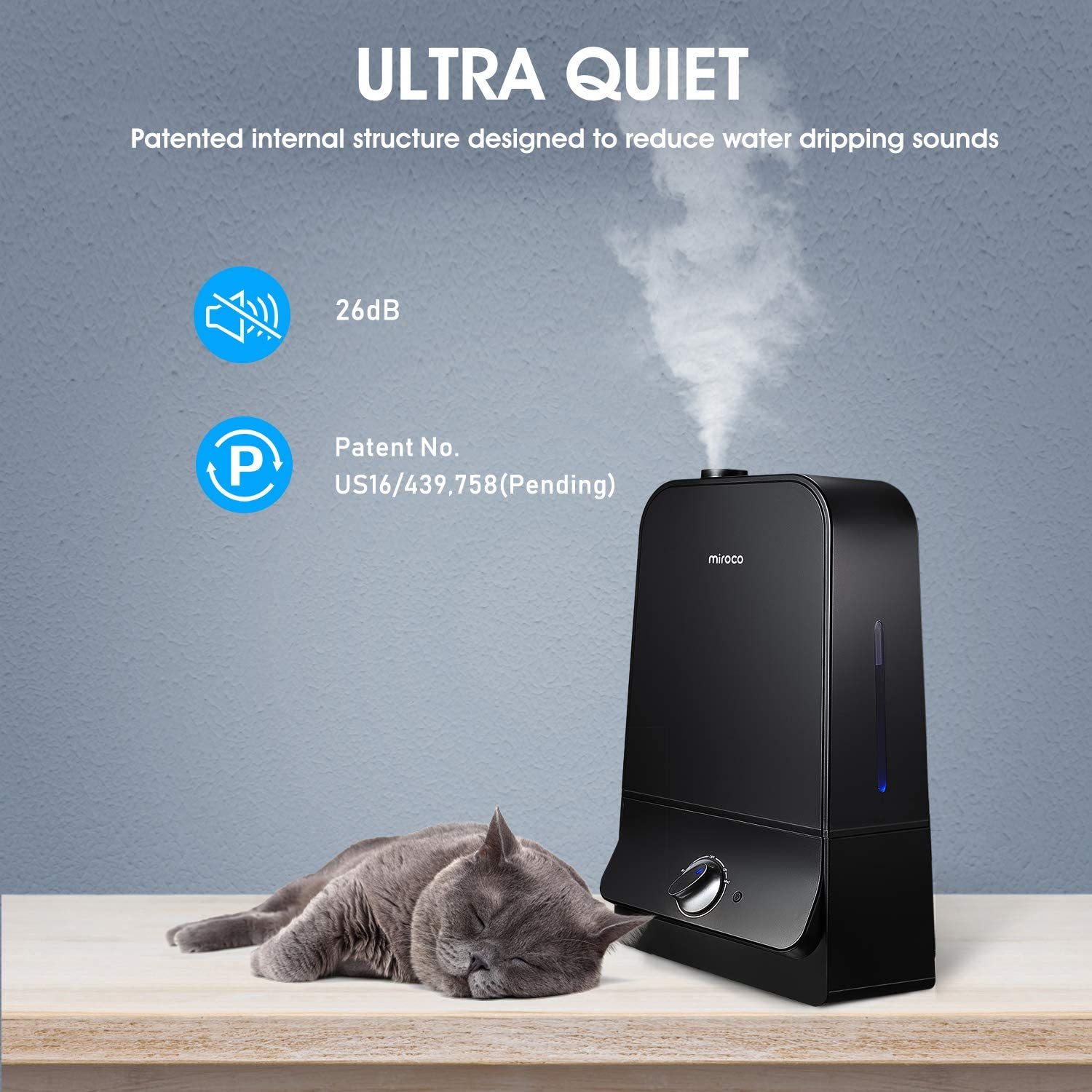 Miroco MI-AH001 Ultrasonic Cool Humidifier with 6L Tank, 26dB Ultra Quiet, 90mm Water Inlet, Night Light, Adjustable Mist, Automatic Shut-Off for Home Office 20-60 Hours, Black