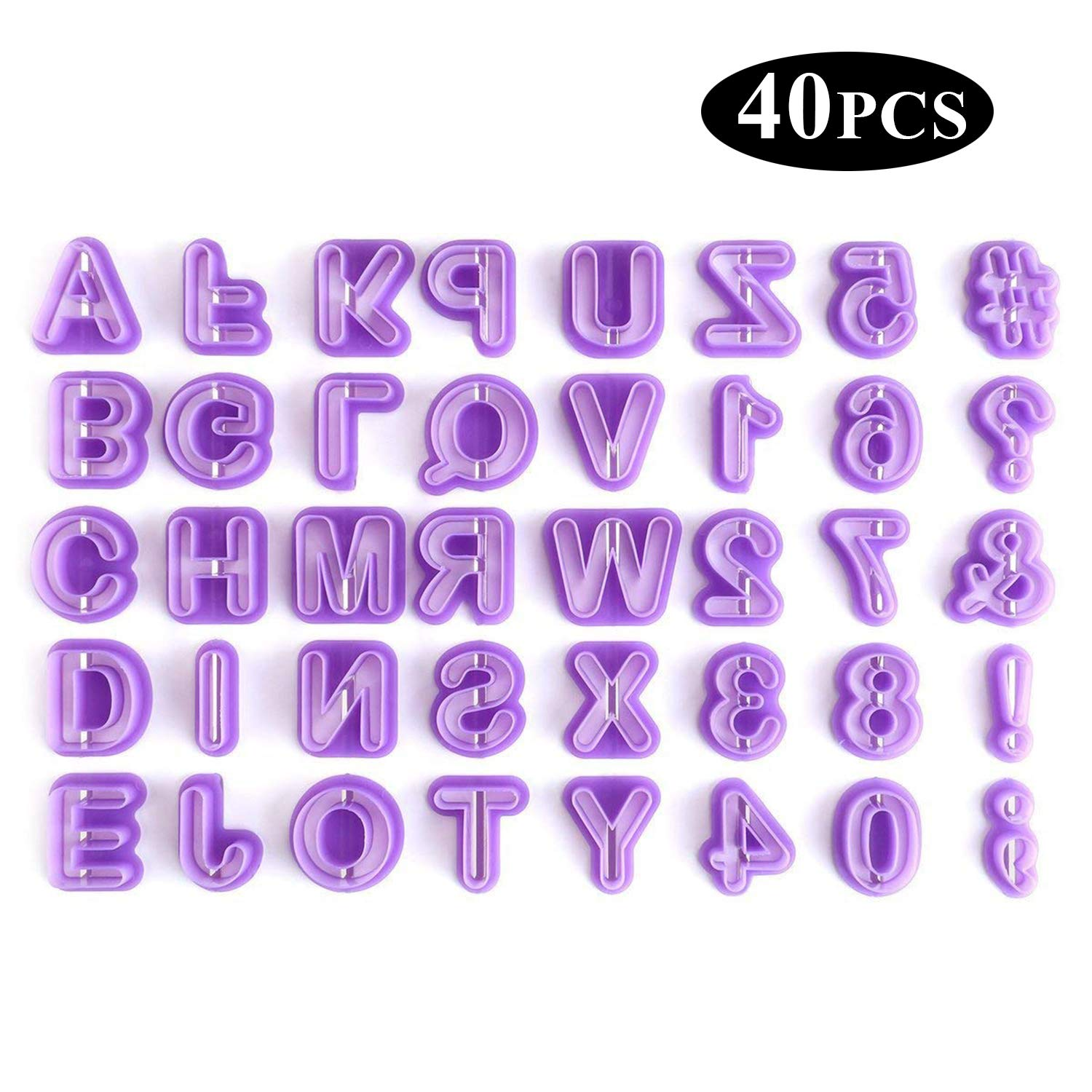 Cookie Cutters - YeeStone 40PCS Cookie Fondant Mould Alphabet Cutters Letter Cutters - for Fondant Icing Baking Cake Decorating and Sugarcraft
