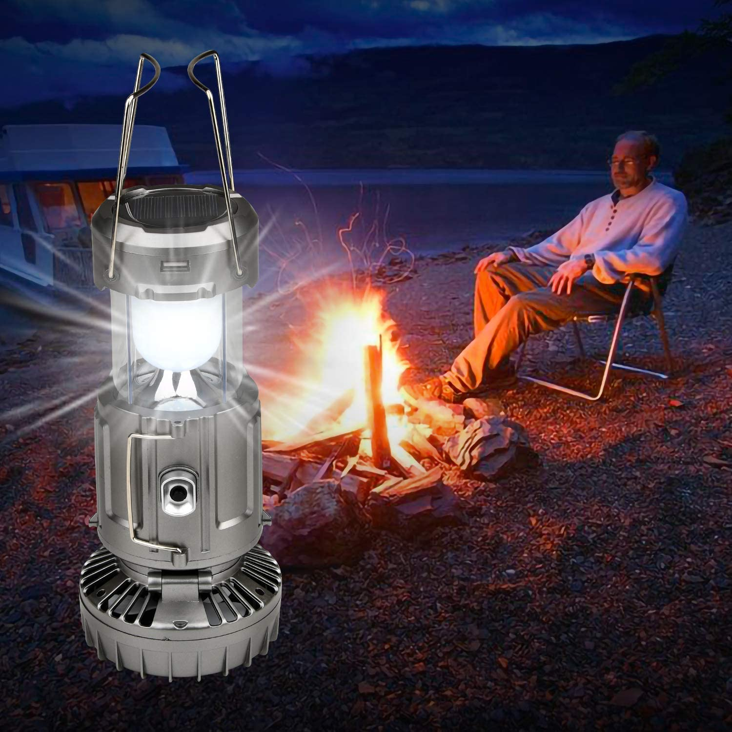 Camping Lantern Solar Light with Fan TechKen Portable Collapsible Mini USB Supply Power Tactical Flashlight Solar LED Bright Lamp Emergency Tent Light for Outdoor Camp Hiking Fishing Reading Hurrican