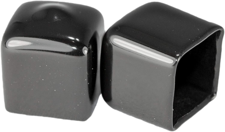"Prescott Plastics 8 Pack: Square Black Vinyl End Cap, Flexible Pipe Post Rubber Cover (1/2"" (0.50""))"