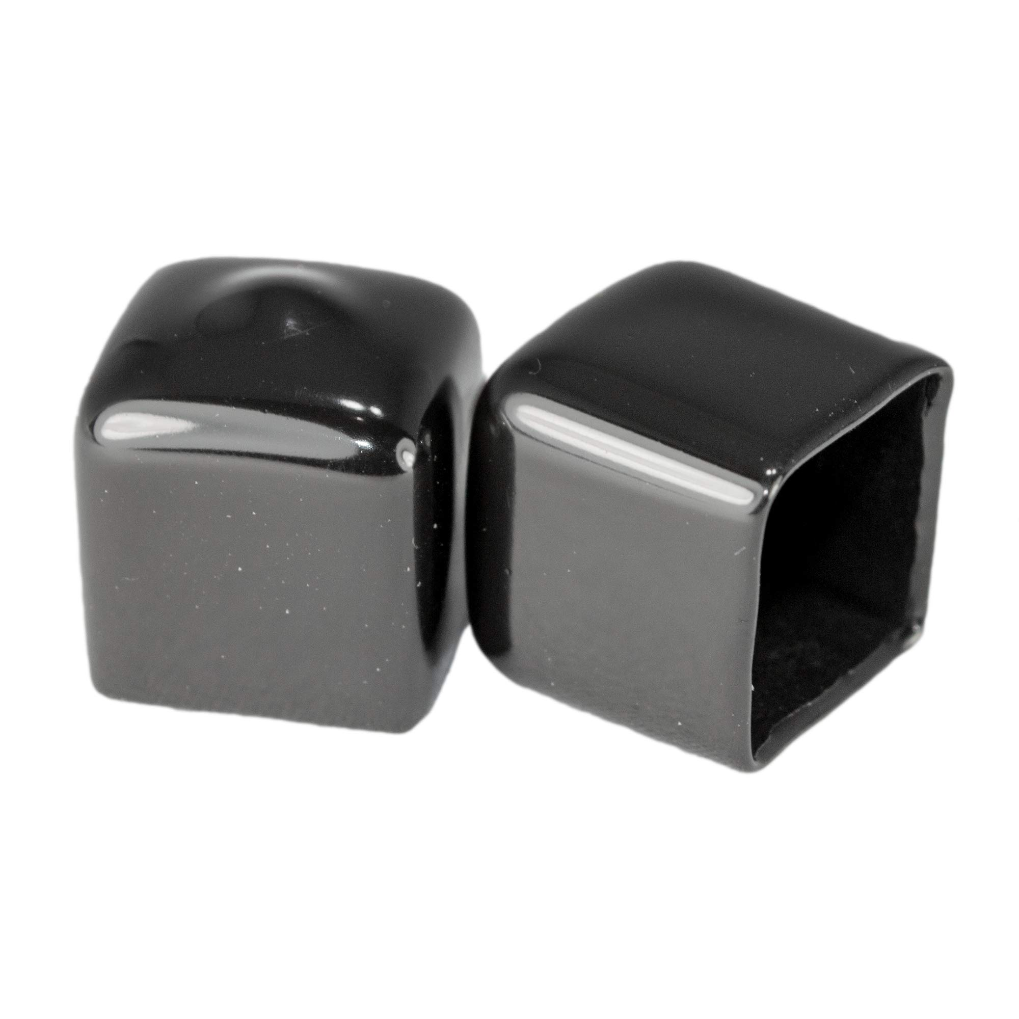 Prescott Plastics 1/2 Inch: Square Black Vinyl End Cap, Flexible Pipe Post Rubber Cover ((B) Pack of 20 Caps) by Prescott Plastics