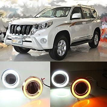 dongzhen LED DRL Conducción Lámpara para Toyota Land Cruiser 2700 4000 Prado FJ150 LC150 2014 2015 Daytime Running Turn luz de señal 1 par: Amazon.es: Coche ...