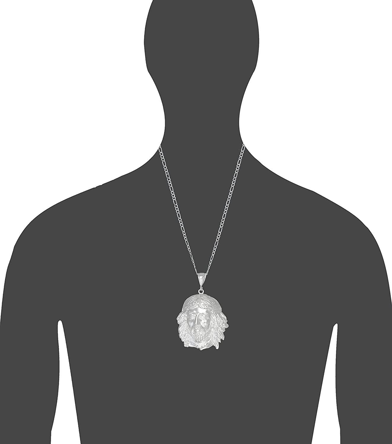 Sterling Silver Jesus Pendant Necklace Diamond Cut Finish with 24 Inch Chain