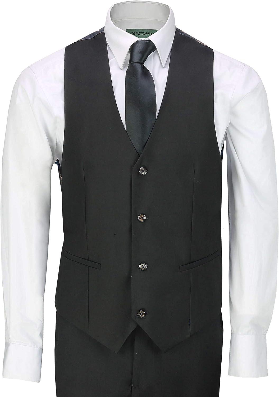 Hombres De 3 Piezas Smoking Traje Negro Equipada con Estilo Retro Formal Dinner Jacket