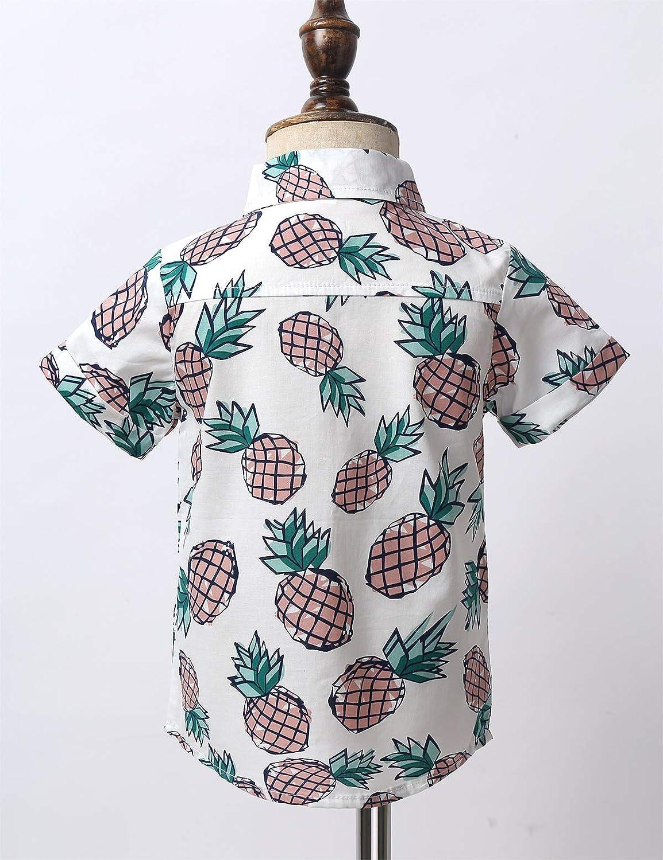 inlzdz Kleinkind Baby Jungen Hawaii Hemd Kurzarm Baumwolle Ananas Gedruckt Button Down Freizeithemd Aloha Shirts Sommer Kleidung Beachwear